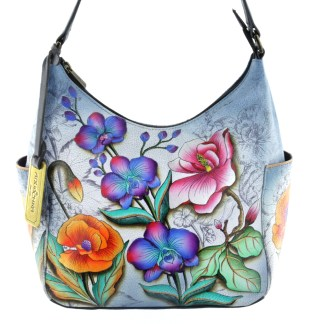 Anuschka Classic Genuine Leather Handpainted Hobo Side Pockets Floral Fantasy