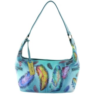 Anuschka Hand Painted Genuine Leather East West Medium Hobo Floating Feathers