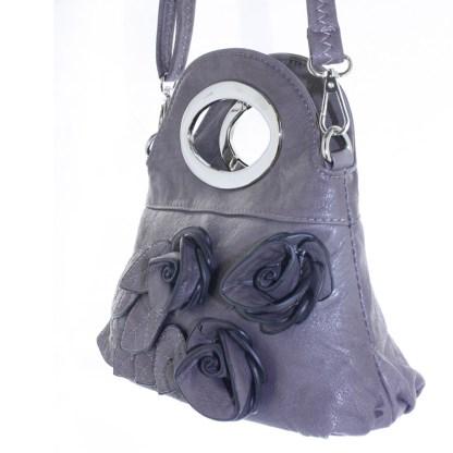 Silver Fever® Rose Applique Mini Clutch Crossbody Handbag Gray