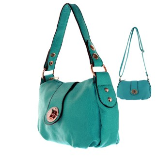 Silver Fever® Speedy to Crossbody Versatile Mini Satchel Handbag Mint Blue