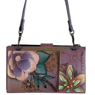 Anuschka Large Smart Phone Case & Wallet Bag Genuine Handpainted Leather Blissfull Birds