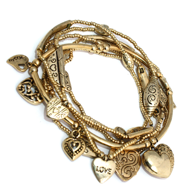 Set of 6 18Kt Gold Pl Puff Hearts Love GOOD KARMA Charm Stretch Beaded Bracelets