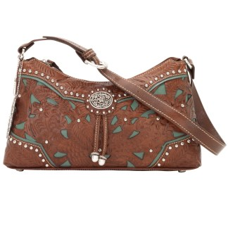 American West Leather Zip Top Shoulder HoboHandbag Lady Lace Brown
