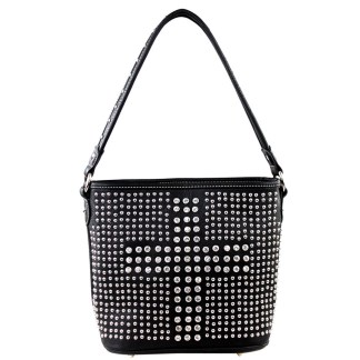 Montana West Bling Bling Collection Bucket tote handbag-Black