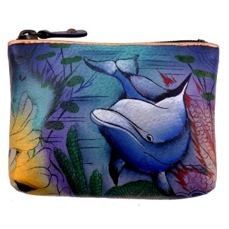 Anuschka Genuine Leather Coin Zip-Up Pouch Hand Painted Dolphin World