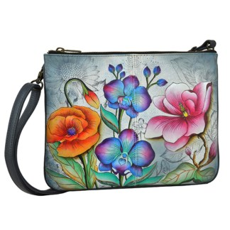 Anuschka Leather Triple Compartment Cross Body Organizer Handbag Floral Fantasy