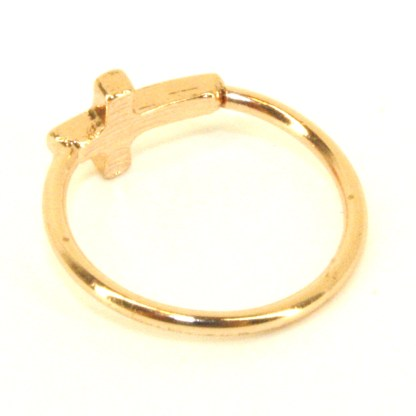 Midi Baby or Toe Ring Above The Knuckle Top Of Finger Yellow Gold Cross Sz3-4
