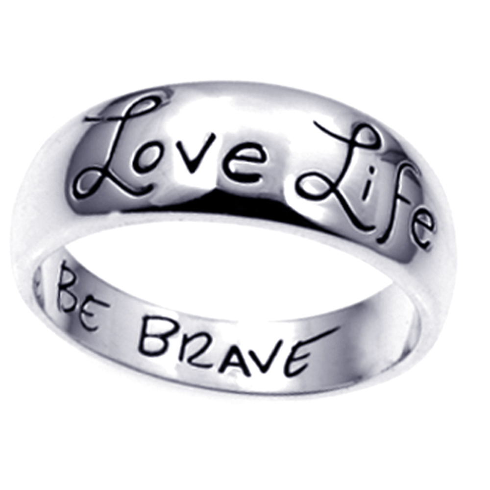 Love Life Be Brave Ring Sterling Silver 925 Wide Band Inspirational