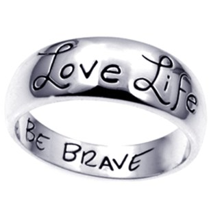 Love Life Be Brave Ring Sterling Silver 925 Wide Band Inspirational Gift, Size 7, 8, 9