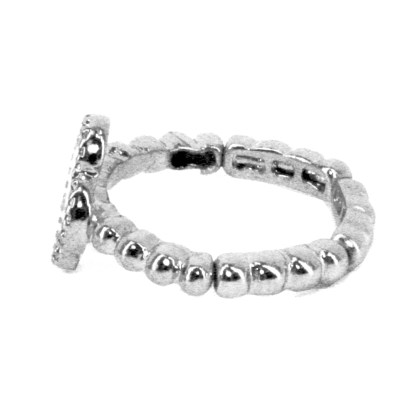 Lucky 4 Leaf Clover Silver Plated Clear Cubic Zirconia Stretch Adj Fashion Ring
