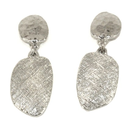 Double Drop Oval Silver Plated Shimmery Finish Fashion Earrings