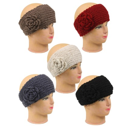Silver Fever Knitted Headband Hair band Head wrap Earmuff with Flower button closure