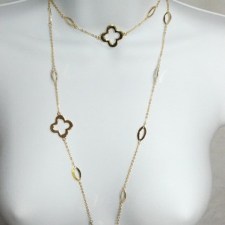 Good Luck Clover Leaf Gold Plated Necklace 40""