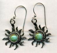 Handcrafted Genuine Turquoise Sun 925 Silver Earrings