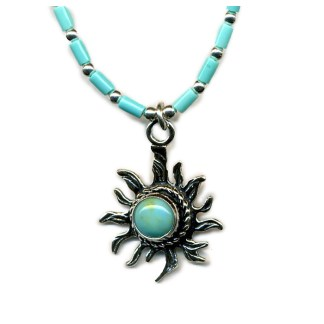 Handcrafted GENUINE Turquoise Sun Necklace 925 Silver