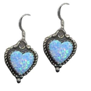 Large Silver 925  Opal Heart Drop Earrings