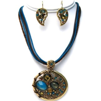 Antiqued Gold Blue & Brown Sea Beaded Inspired N+E Set