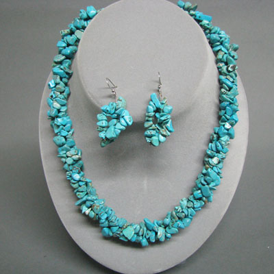 Genuine Turquoise Chunky Nugget Choker & Earring Set