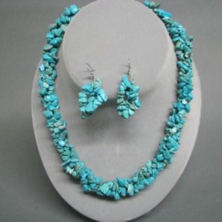 Genuine Turquoise Chunky Nugget Choker & Earring Set