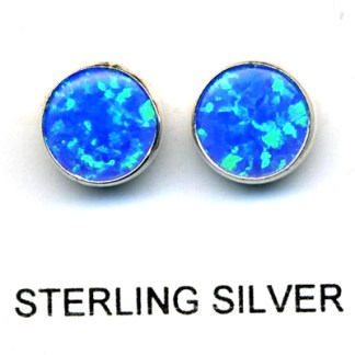 Blue Green Opal Sterling 8mm Round Post Earrings