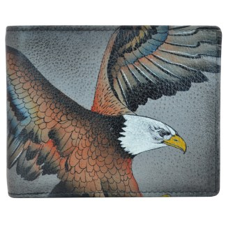 Anuschka Leather RFID Men's Two Fold Wallet with Insert Hand Painted  American Eagle