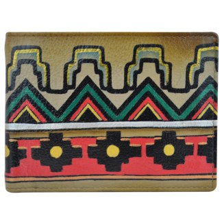 Anuschka Leather RFID Men's Two Fold Wallet with Coin Pocket Hand Painted Antique Aztec