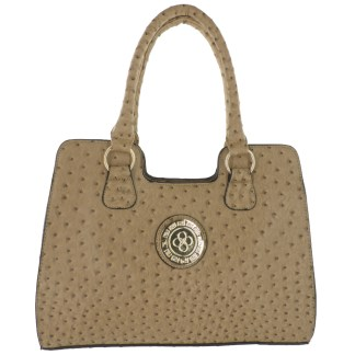 Ostrich Print Embossed Medium Satchel Silver Fever® Beige
