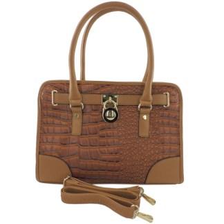 Silver Fever® Belted CrockTote Handbag with Lock Tan
