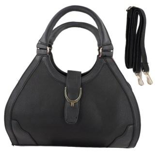 Silver Fever® Classic Satchel Gold Detail HandbagBlack