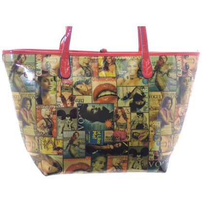 Silver Fever® Novelty Print Fashion Tote Multicolor & Red
