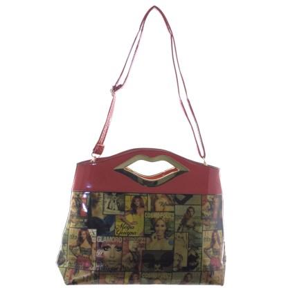 Silver Fever® Novelty Print Fashion Clutch Shoulder Bag Multicolor & Red