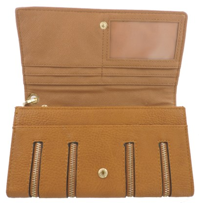 Silver Fever 4-Zip Wristlet Wallet Clutch Bag Camel