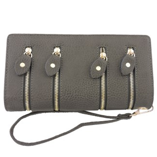 Silver Fever 4-Zip Wristlet Wallet Clutch Bag Charcoal