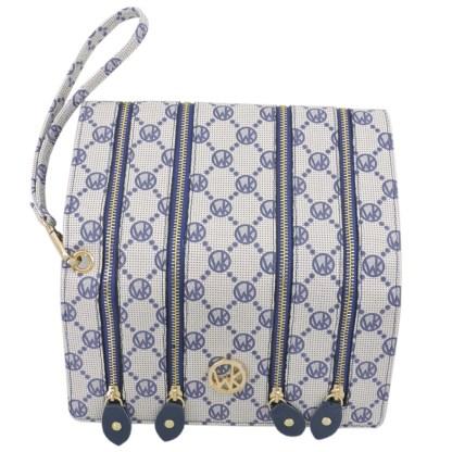 Fashion Signature Print Wristlet Wallet Clutch Bag Navy