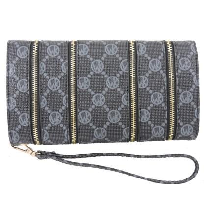 Fashion Signature Print Wristlet Wallet Clutch Bag Black