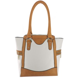 Silver Fever® Business Tote Zipside Handbag White Camel