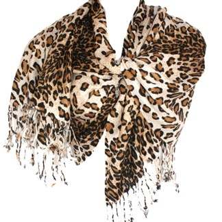 Graduated Leopard Print Ivory Brown Pashmina Shawl Scarf Stole
