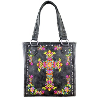 Montana West Western Collection Tall Tote  Handbag Grey  w Cross Embroidery
