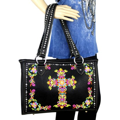 Montana West Western Collection Wide Tote Handbag Coffee w Cross Embroidery