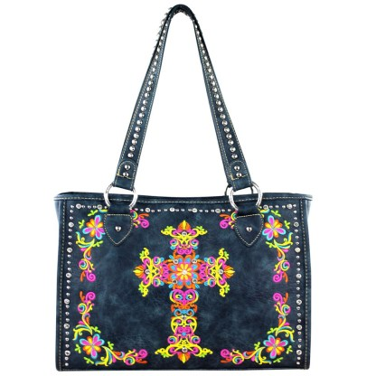Montana West Western Collection Wide Tote Handbag Navy w Cross Embroidery