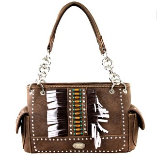 Montana West Western Collection Concealed Gun Satchel Hanbag Coffee with Fringe