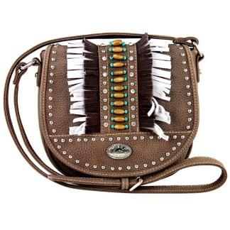 Montana West Western Collection Cross Body Shoulder Bag Coffee  with Fringe