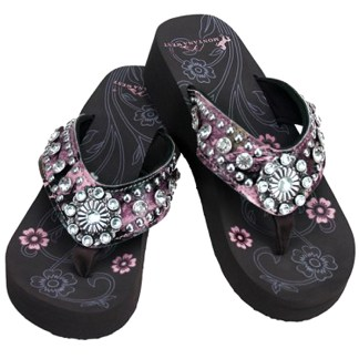 Montana West Women's Hand Beaded Flip Flop Sandals (PinkCamoFlwBling)
