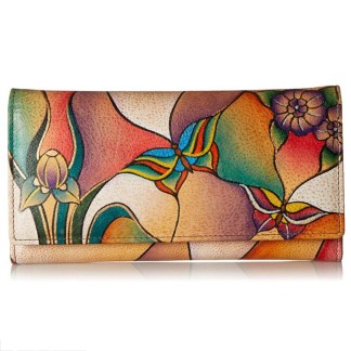 Anna by Anuschka Ladies Wallet Checkbook Butterfly Glass Painting