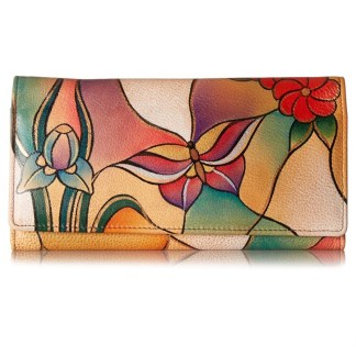 Anna by Anuschka Ladies Wallet Multi Pocket Butterfly Glass Painting