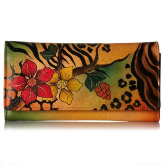 Anna by Anuschka Ladies Wallet Multi Pocket Safari Bloom