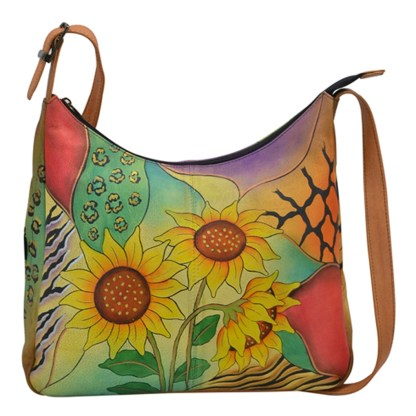 Anna by Anuschka Hobo Hanbdag Large Sunflower Safari