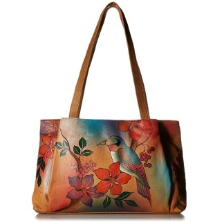 Anna by Anuschka Tote Handbag Ex Large Shopper Bird on Brunch