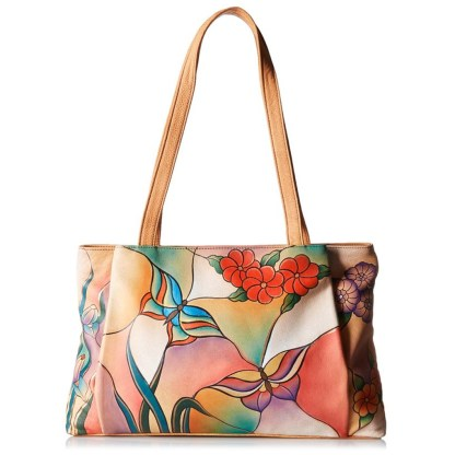 Anna by Anuschka Tote Handbag Ex Large Shopper Butterfly Glass Painting