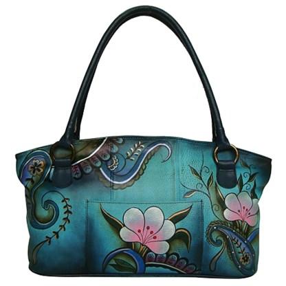 Anna by Anuschka Tote Handbag Wide Denim Paisley Floral